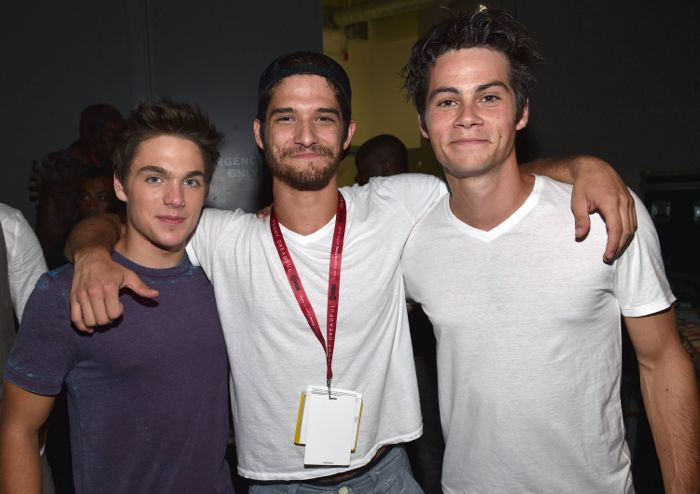 """Dylan Sprayberry, Tyler Posey and Dylan O'Brien pose backstage at the """"Teen Wolf"""" panel at Comic-Con International on Thursday, July 24, 2014, in San Diego"""
