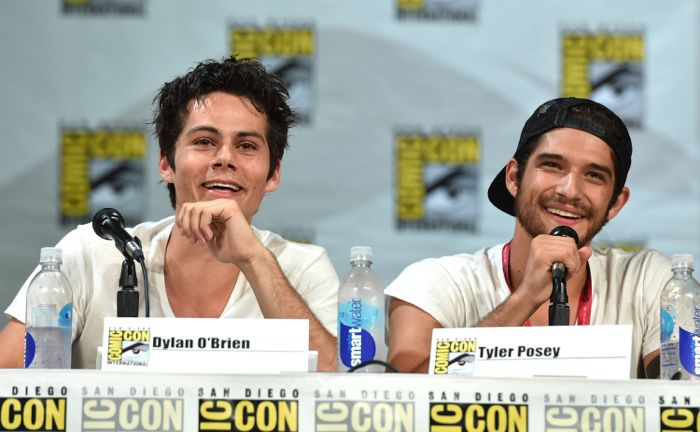 """Dylan O'Brien, left, and Tyler Posey attend the """"Teen Wolf"""" panel at Comic-Con International on Thursday, July 24, 2014, in San Diego."""