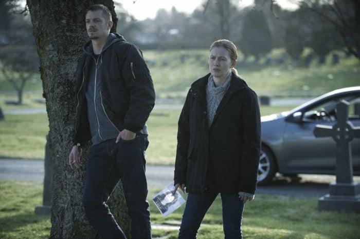 "Joel Kinnaman (L) and Mireille Enos (R) in a scene from Netflix's ""The Killing"" Season 4"