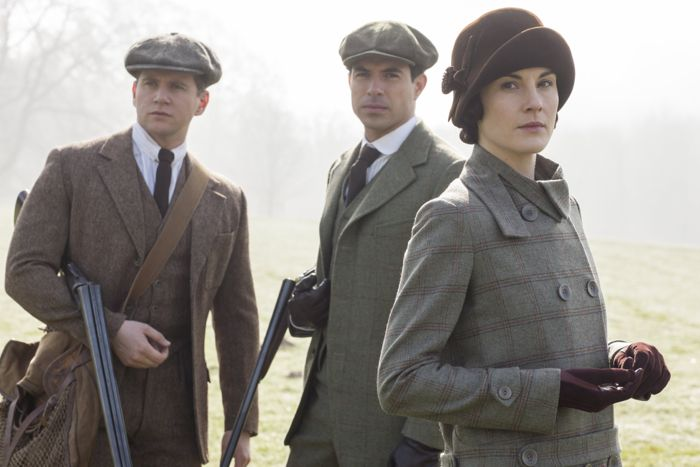 Downton Abbey Allen Leech as Tom Branson, Tom Cullen as Lord Gillingham and Michelle Dockery as Lady Mary