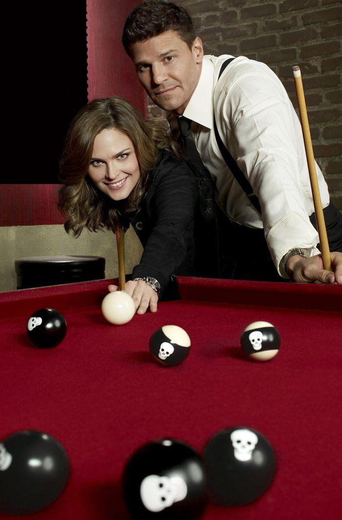 BONES:  Emily Deschanel as Dr. Temperance Brennan and David Boreanaz as FBI Special Agent Seeley Booth
