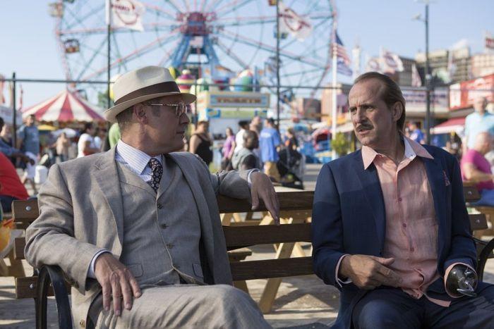 "THE BLACKLIST -- ""Monarch Douglas Bank"" Episode 202 -- Pictured: (l-r) James Spader as Red Reddington, Peter Stormare as Berlin"