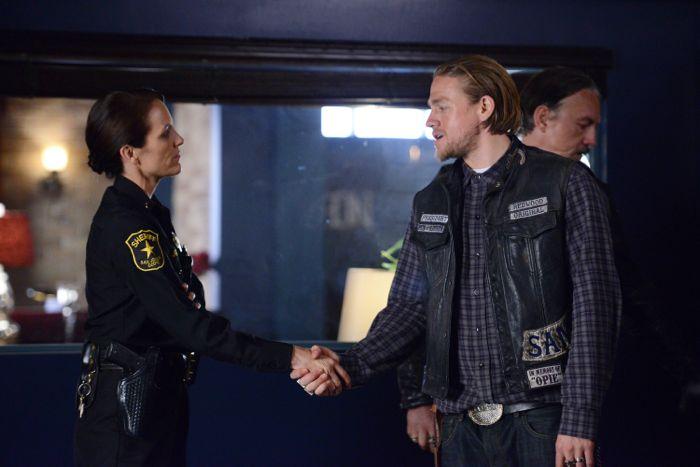 Annabeth Gish as Dep. Sheriff Althea Jarry, Charlie Hunnam as Jackson 'Jax' Teller Sons Of Anarchy