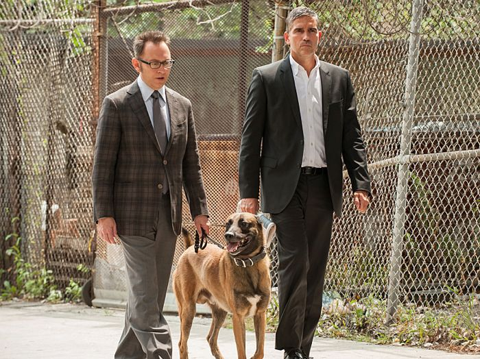 Finch (Michael Emerson, left) insists that he no longer wishes to help with new numbers, his interest is piqued when Reese (Jim Caviezel, right)