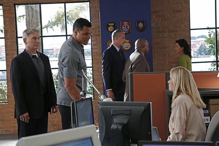 NCIS Special Agent Tony Francis. Pictured left to right: Mark Harmon, Tony Gonzalez and Emily Wickersham