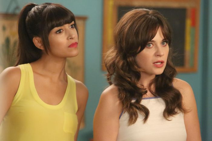 NEW GIRL: Jess (Zooey Deschanel, R) and Cece (Hannah Simone, L) have a plan when they meet Jess' dad's new girlfriend