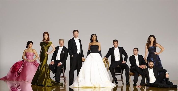 "ABC's ""Scandal"" stars Bellamy Young as First Lady Mellie Grant, Darby Stanchfield as Abby Whelan, Jeff Perry as Cyrus, Tony Goldwyn as President Fitzgerald Grant, Kerry Washington as Olivia Pope, Scott Foley as Jake Ballard, Joshua Malina as David Rosen, Guillermo Diaz as Huck and Katie Lowes as Quinn Perkins"