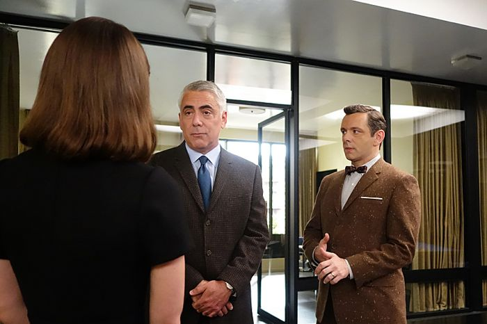 Lizzy Caplan as Virginia Johnson, Adam Arkin as Shep Tally and Michael Sheen as Dr. William Masters in Masters of Sex (season 2, episode 10)