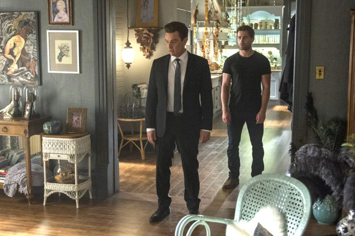 (L-R) James Marsters and Christian Cooke star in an all-new episode of Witches of East End, airing Sunday, September 14, at 9pm ET/PT on Lifetime.