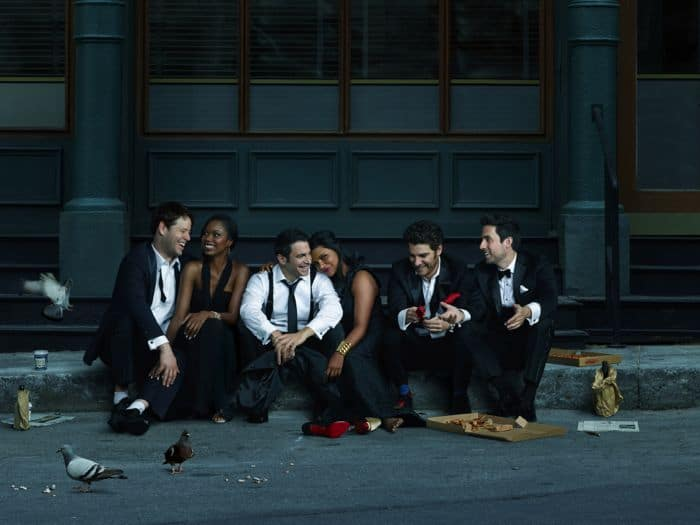 The Mindy Project Cast Season 3 Ike Barinholtz, Xosha Roquemore, Chris Messina, Mindy Kaling, Adam Pally and Ed Weeks