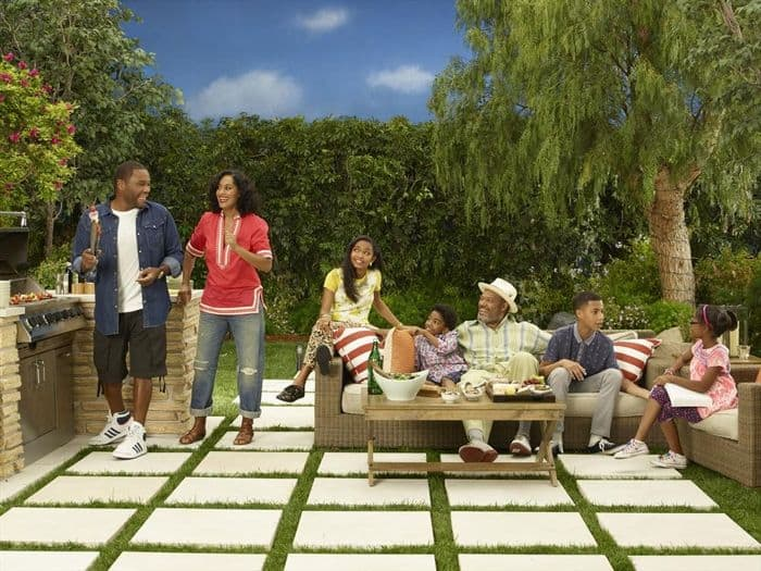 Black-Ish Cast ABC TV Show ANTHONY ANDERSON, TRACEE ELLIS ROSS, YARA SHAHIDI, MILES BROWN, LAURENCE FISHBURNE, MARCUS SCRIBNER, MARSAI MARTIN