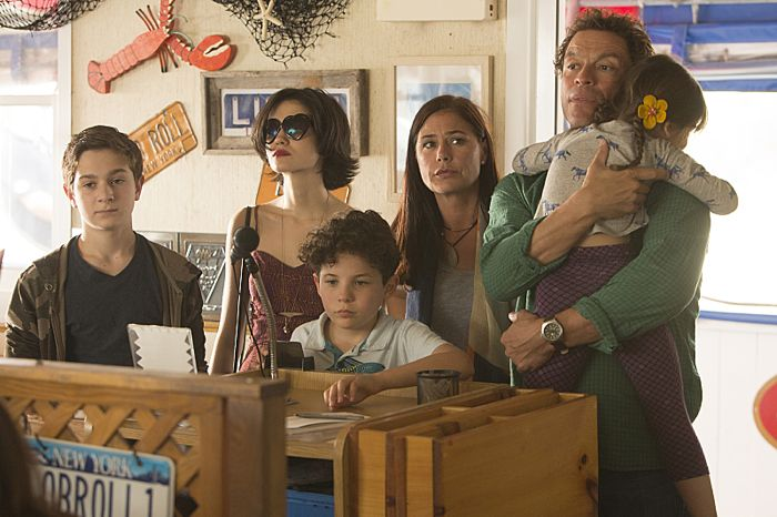 Jake Richard Siciliano as Martin, Julia Goldani Telles as Whitney, Jadon Sand as Trevor, Maura Tierney as Helen, Dominic West as Noah and Leya Catlett as Stacey in in The Affair (Pilot)