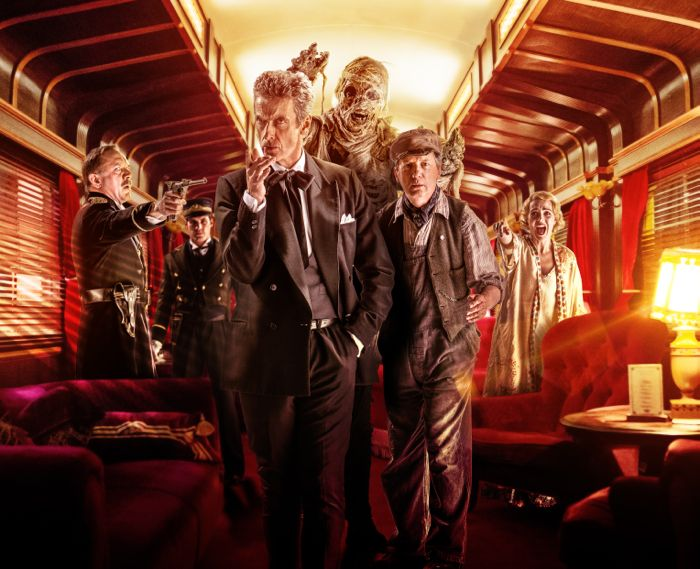 Doctor Who, Season 8, Episode 8, Captain Quell (David Bamber), McKean (Christopher Dane), the Doctor (Peter Capaldi), Perkins (Frank Skinner), and Maisie (Daisy Beaumont)