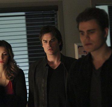 "The Vampire Diaries -- ""Stay"" -- Image Number: VD114b_0182.jpg -- Pictured (L-R): Nina Dobrev as Elena, Ian Somerhalder as Damon and Paul Wesley as Stefan"