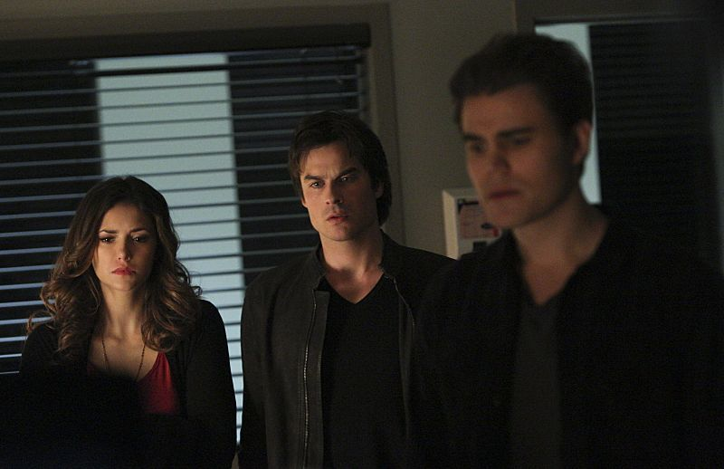 "The Vampire Diaries -- ""Stay"" -- Image Number: VD114b_0182.jpg -- Pictured (L-R): Nina Dobrev as Elena, Ian Somerhalder as Damon and Paul Wesley as Stefan"