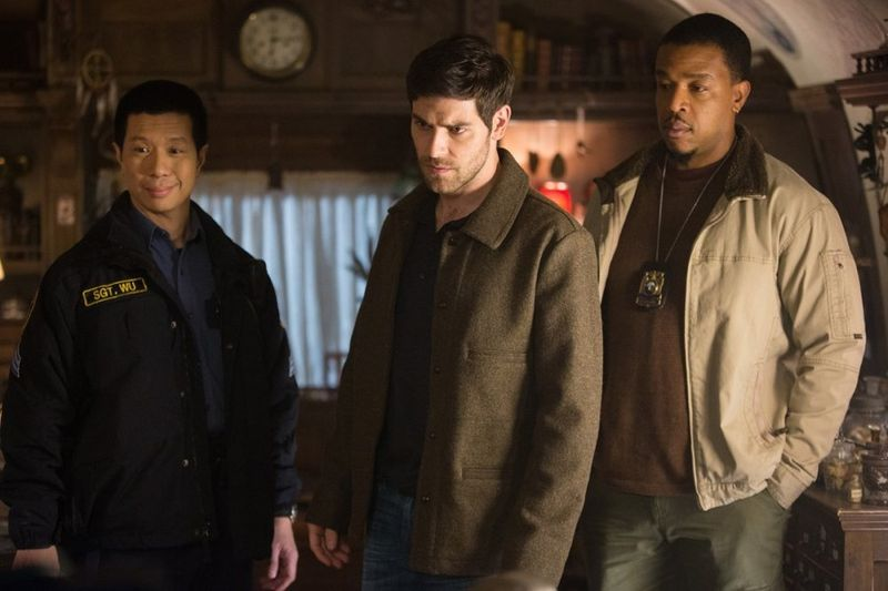 Reggie Lee as Sgt Wu, David Giuntoli as Nick Burkhardt, Russell Hornsby as Hank Griffin Grimm Season 4