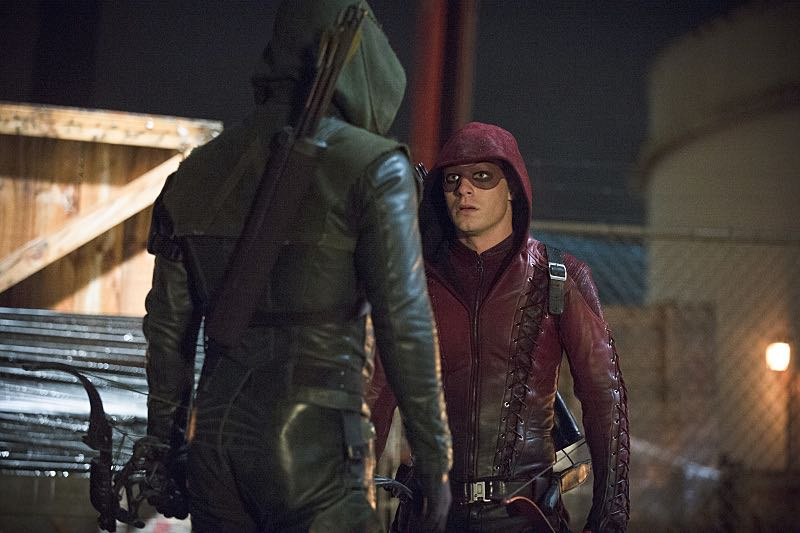 "Arrow -- ""Suicidal Tendencies"" -- Image AR317B_0231b -- Pictured (L-R): Stephen Amell as Oliver Queen / The Arrow and Colton Haynes as Roy Harper / Arsenal -- Photo: Cate Cameron/The CW -- © 2015 The CW Network, LLC. All Rights Reserved."