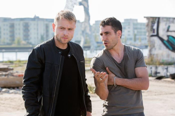 "Max Riemelt and Miguel Angel Silvestre in a scene from Netflix's ""Sense8."" Photo credit: Murray Close/Netflix."