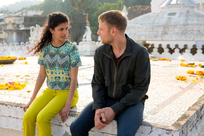 "Tina Desai and Max Riemelt in a scene from Netflix's ""Sense8."" Photo credit: Murray Close/Netflix."