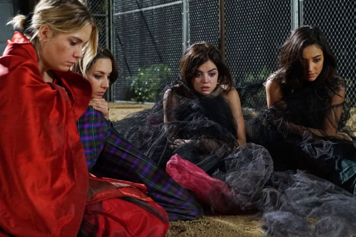 """PRETTY LITTLE LIARS - """"Game On, Charles"""" - The future looks bleak as the Liars are still stuck in Charles' twisted web in """"Game On, Charles,"""" the season six premiere of ABC Family's hit original series """"Pretty Little Liars,"""" premiering Tuesday, June 2nd (8:00 – 9:00 PM ET/PT). Fans can start to put the """"A"""" puzzle pieces together with an all-day marathon starting at 12:00 PM (ET/PT) and running up to the one-hour season premiere at 8:00 PM (ET/PT). (ABC Family/Eric McCandless) ASHLEY BENSON, TROIAN BELLISARIO, LUCY HALE, SHAY MITHCELL"""