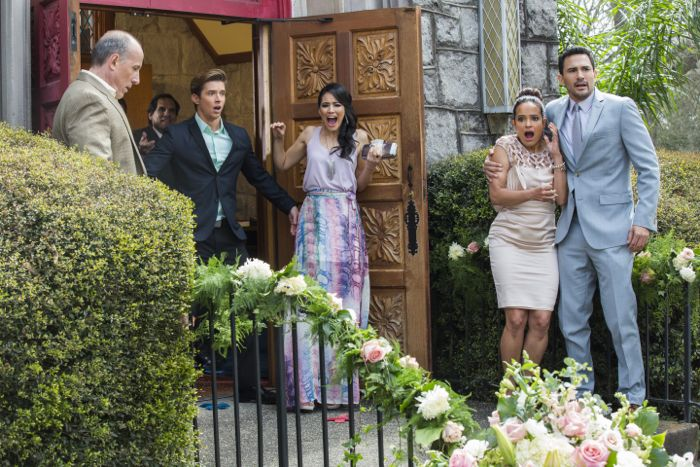 (L-R) Alex Fernandez, Drew Van Acker, Edy Ganem, Judy Reyes and Ivan Hernandez star in season three of Lifetime's hit series Devious Maids, premiering Monday, June 1st, at 9pm ET/PT on Lifetime.