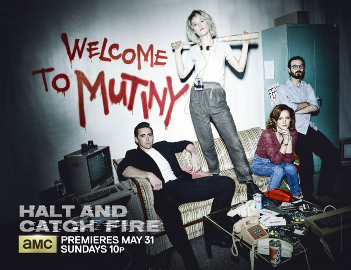 Lee Pace as Joe MacMillan, Mackenzie Davis as Cameron Howe, Kerry Bishe as Donna Clark and Scoot McNairy as Gordon Clark - Halt and Catch Fire _ Season 2, Gallery - Photo Credit: Frank Ockenfels 3/AMC