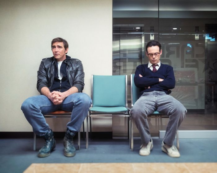 Lee Pace as Joe MacMillan and Scoot McNairy as Gordon Clark - Halt and Catch Fire _ Season 2, Episode 1 - Photo Credit: Tina Rowden/AMC