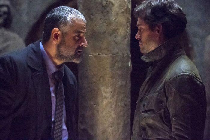 "HANNIBAL -- ""Primavera"" Episode 302 -- Pictured: (l-r) Fortunato Cerlino as Inspector Pazzi, Hugh Dancy as Will Graham -- (Photo by: Brooke Palmer/NBC)"