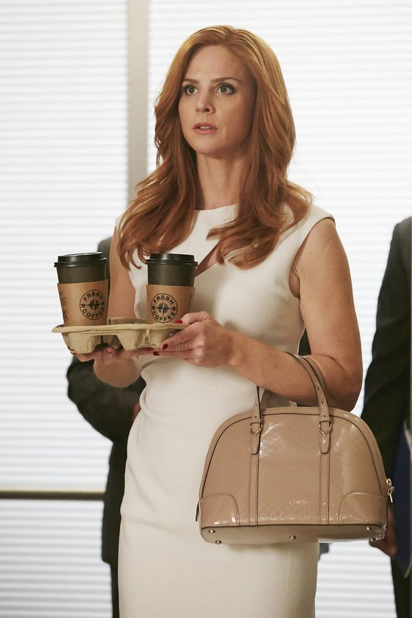 "SUITS -- ""Compensation"" Episode 502 -- Pictured: Sarah Rafferty as Donna Paulsen -- (Photo by: Ian Watson/USA Network)"