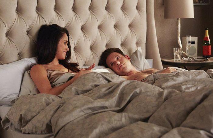 "SUITS -- ""Denial"" Episode 501 -- Pictured: (l-r) Meghan Markle as Rachel Zane, Patrick J. Adams as Michael Ross -- (Photo by: Shane Mahood/USA Network)"