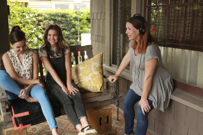 """THE FOSTERS - """"Father's Day"""" - The Adams Foster family celebrates Father's Day in an all-new episode of """"The Fosters,"""" airing Monday, June 15, 2015 at 8:00PM ET/PT on ABC Family. (ABC Family/Ron Tom) BAILEE MADISON, MAIA MITCHELL, APRILL WINNEY (DIRECTOR)"""