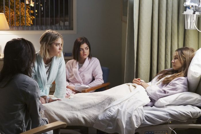 """PRETTY LITTLE LIARS - """"Songs of Innocence"""" - Aria, Emily, Hanna and Spencer are out of the Dollhouse but far from free of its lasting effects in """"Songs of Innocence,"""" an all-new episode of ABC Family's hit original series """"Pretty Little Liars,"""" airing Tuesday, June 9th (8:00 – 9:00 PM ET/PT). (ABC Family/Eric McCandless) ASHLEY BENSON, LUCY HALE, TROIAN BELLISARIO"""