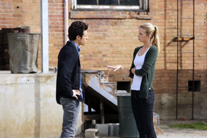 """STITCHERS - """"Friends in Low Places"""" - Kirsten crosses paths with Detective Fisher again when they end up working on the same overdose death of a young woman in an all-new episode of """"Stitchers,"""" airing Tuesday, June 9, 2015 at 9:00PM ET/PT on ABC Family. (ABC Family/Tony Rivetti) KYLE HARRIS, EMMA ISHTA"""