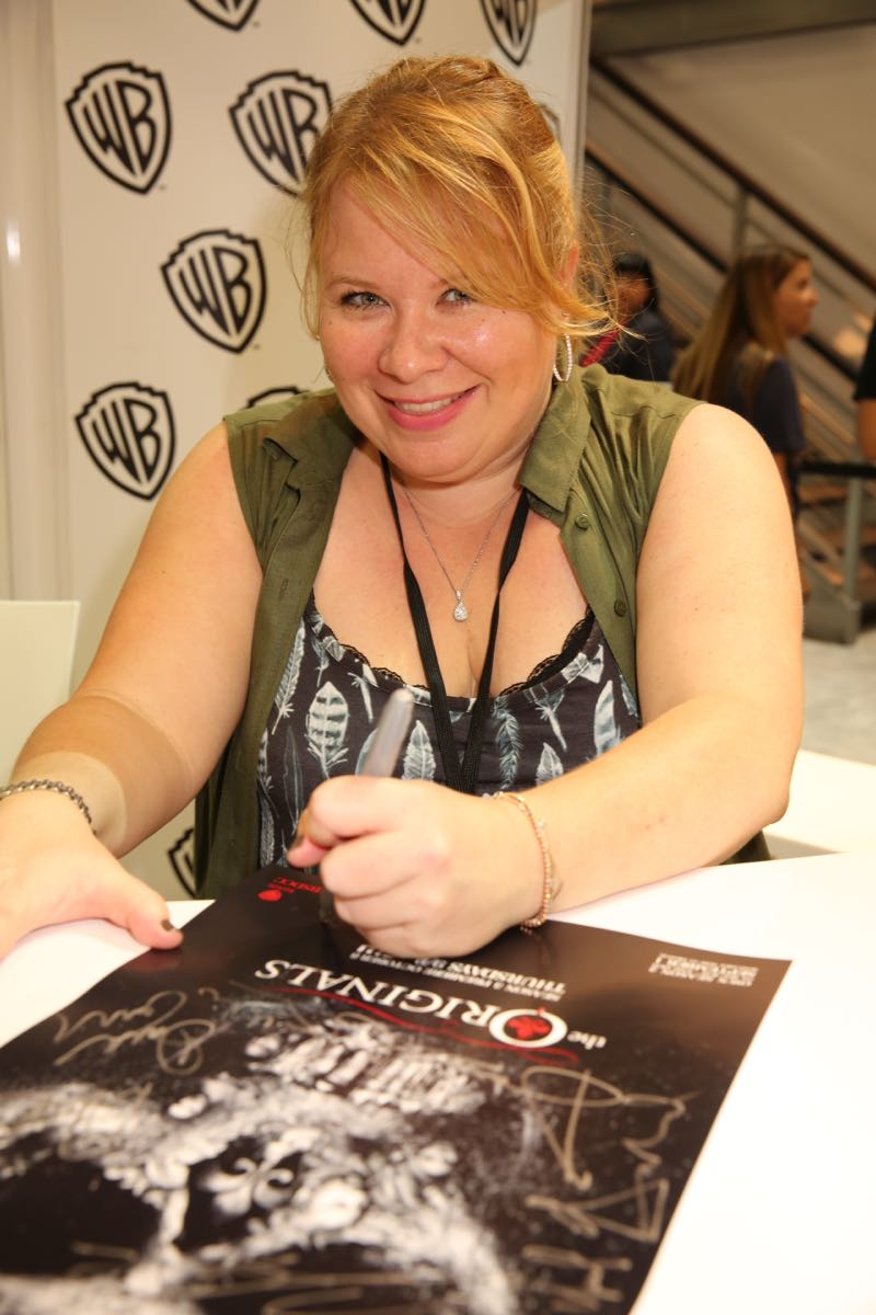 Julie Plec, creator and executive producer of THE ORIGINALS, in the Warner Bros. booth at Comic-Con 2015. #WBSDCC (©2015 WBEI. All rights reserved.)