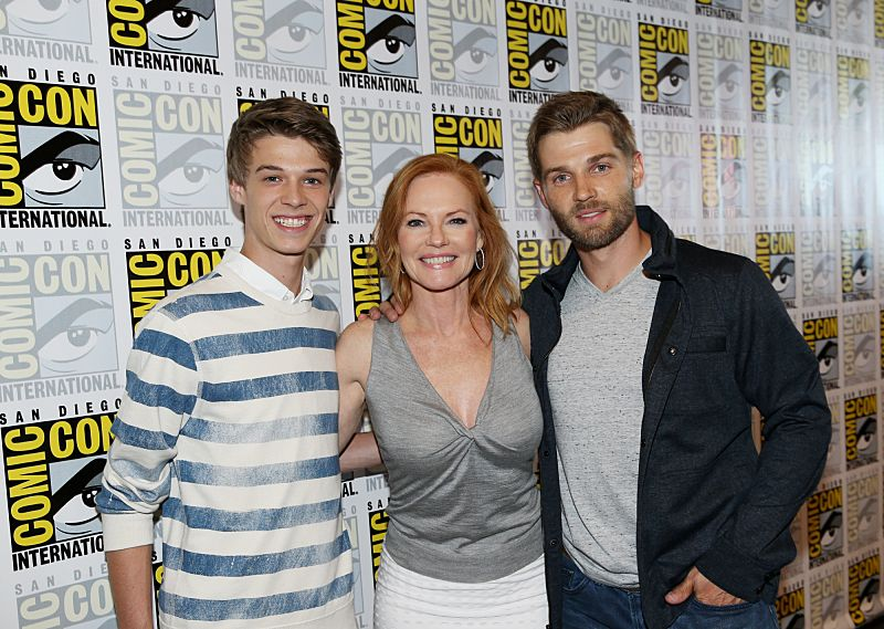 Colin Ford, Marg Helgenberger, & Mike Vogel of the CBS Series Under The Dome at COMIC CON 2015, held in San Diego, CA Photo: Monty Brinton/CBS ©2015 CBS Broadcasting Inc. All Rights Reserved