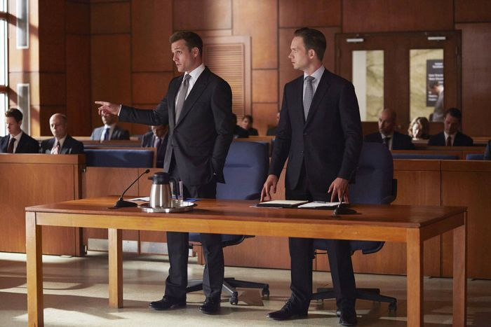 """SUITS -- """"Toe to Toe"""" Episode 505 -- Pictured: (l-r) Gabriel Macht as Harvey Specter, Patrick J. Adams as Michael Ross -- (Photo by: Shane Mahood/USA Network)"""