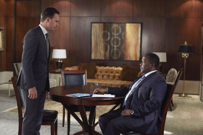 "SUITS -- ""No Puedo Hacerlo"" Episode 504 -- Pictured: (l-r) Patrick J. Adams as Michael Ross, Wendell Pierce as Robert Zane -- (Photo by: Shane Mahood/USA Network)"