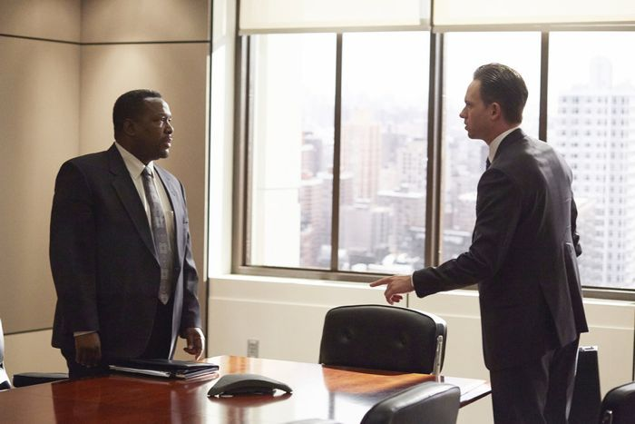 "SUITS -- ""No Puedo Hacerlo"" Episode 504 -- Pictured: (l-r) Wendell Pierce as Robert Zane, Patrick J. Adams as Michael Ross -- (Photo by: Shane Mahood/USA Network)"