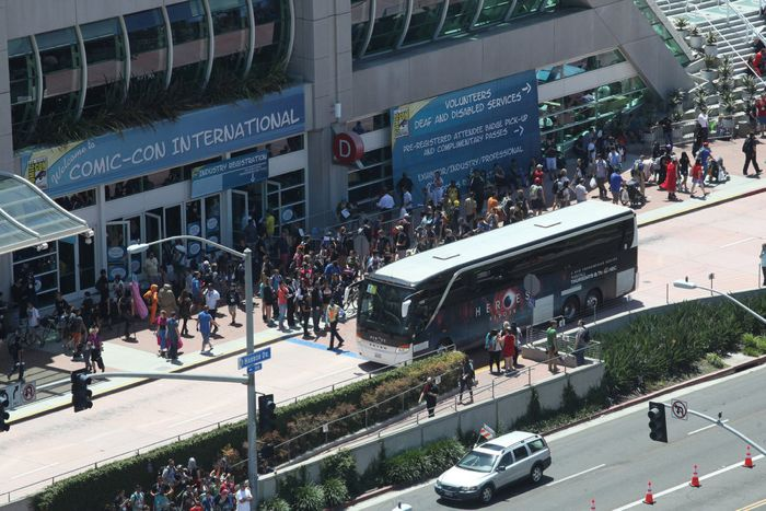 "COMIC-CON INTERNATIONAL: SAN DIEGO 2015 -- ""NBC at Comic-Con"" -- Pictured: ""Heroes Reborn"" bus, Thursday, July 9, 2015, from San Diego Convention Center, San Diego, Calif. -- (Photo by: David Yeh/NBC)"