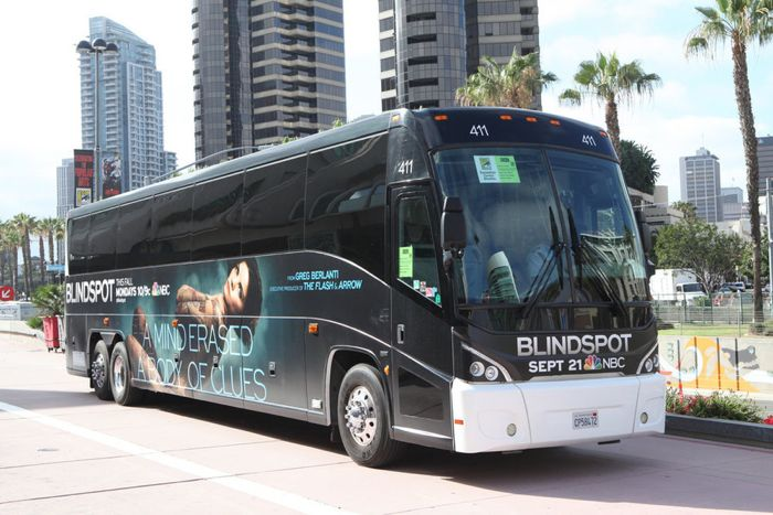 "COMIC-CON INTERNATIONAL: SAN DIEGO 2015 -- ""NBC at Comic-Con"" -- Pictured: ""Blindspot"" transport, Wednesday, July 8, 2015, from the San Diego Convention Center, San Diego, Calif. -- (Photo by: David Yeh/NBC)"