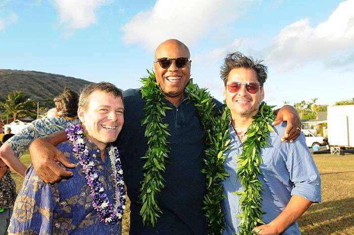 HAWAII FIVE-0 kicks off production its sixth season with a traditional Hawaiian blessing ceremony.  HAWAII FIVE-0's sixth season premieres on Friday, Sept. 25 (9:00-10:00 PM, ET/PT) on the CBS Television Network. From left to right: Co-Executive Producer Jeff Downer, Chi McBride, Executive Producer Peter Lenkov, shown. Photo credit: Norman Shapiro/CBS ©2015 CBS Broadcasting Inc. All Rights Reserved