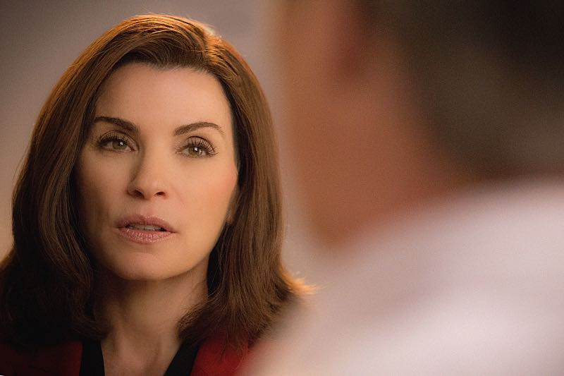 """Grunts"" -- Alicia (Julianna Margulies)  attempts to revive her struggling law career by representing arrestees seeking release on bail in bond court, where she meets attorney Lucca Quinn (Cush Jumbo), who competes for her clients. Also, Peter  brings in national strategist Ruth Eastman (Margo Martindale) to help with his Presidential campaign, and creates an interesting dynamic with Eli in the process, on the seventh season premiere of THE GOOD WIFE, Sunday, Oct. 4  (9:00-10:00 PM ET/PT) on the CBS Television Network. Photo: Paul Sarkis/CBS  ©2015 CBS Broadcasting, Inc. All Rights Reserved"