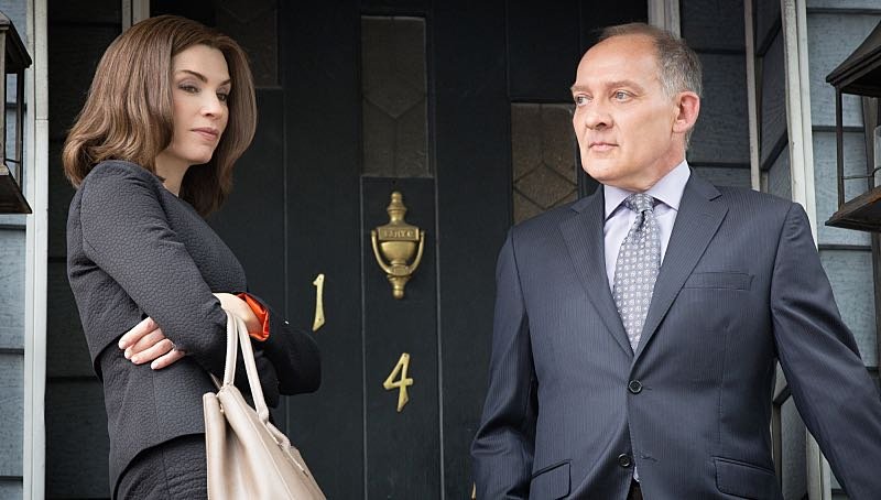 """Grunts"" -- Alicia (right Julianna Margulies)  attempts to revive her struggling law career by representing arrestees seeking release on bail in bond court, where she meets attorney Lucca Quinn (Cush Jumbo), who competes for her clients. Also, Peter  brings in national strategist Ruth Eastman (Margo Martindale) to help with his Presidential campaign, and creates an interesting dynamic with Eli in the process, on the seventh season premiere of THE GOOD WIFE, Sunday, Oct. 4  (9:00-10:00 PM ET/PT) on the CBS Television Network.  Also pictured  Zach Grenier as David Lee Photo: Paul Sarkis/CBS ©2015 CBS Broadcasting, Inc. All Rights Reserved"