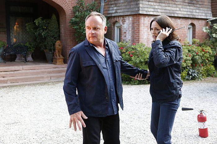 """Immortality Parts I and II"" -- Grissom and Willows return to help the CSI team solve a catastrophic case that paralyzes all of Las Vegas, on the special two-hour series finale of CSI: CRIME SCENE INVESTIGATION, Sunday, Sept. 27 (9:00-11:00 PM, ET/PT), on the CBS Television Network.  Past and current series stars scheduled to appear include William Petersen, Marg Helgenberger, Ted Danson, Jorja Fox, Eric Szmanda, Robert David Hall, Paul Guilfoyle, Wallace Langham, David Berman, Elisabeth Harnois and Jon Wellner.  Also, Melinda Clarke returns as Lady Heather. Pictured: Paul Guilfoyle and Jorja Fox  Photo: Sonja Flemming/CBS ©2015 CBS Broadcasting, Inc. All Rights Reserved"