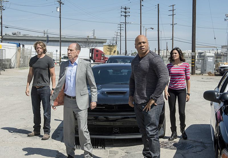 """Active Measures"" -- Pictured: Eric Christian Olsen (LAPD Liaison Marty Deeks), Miguel Ferrer (NCIS Assistant Director Owen Granger), LL COOL J (Special Agent Sam Hanna) and Daniela Ruah (Special Agent Kensi Blye). The seventh season resumes with Callen embarking on a secret project, leaving Sam, and the entire team in the dark. After Hetty demands his operation be shut down, the team is tasked with locating Callen before he finds himself in over his head on the seventh season premiere of NCIS: LOS ANGELES, Monday, Sept. 21 (9:59-11:00, ET/PT), on the CBS Television Network. Photo: Neil Jacobs/CBS ©2015 CBS Broadcasting, Inc. All Rights Reserved."