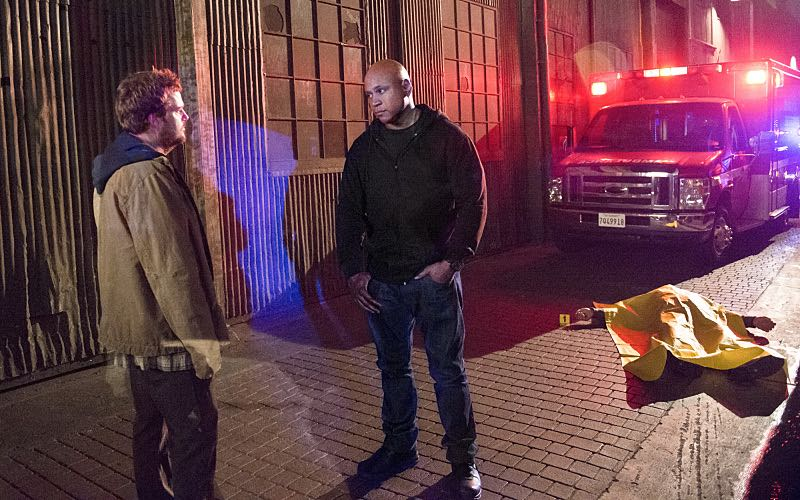 """Active Measures"" -- Pictured: Chris O'Donnell (Special Agent G. Callen) and LL COOL J (Special Agent Sam Hanna). The seventh season resumes with Callen embarking on a secret project, leaving Sam, and the entire team in the dark. After Hetty demands his operation be shut down, the team is tasked with locating Callen before he finds himself in over his head on the seventh season premiere of NCIS: LOS ANGELES, Monday, Sept. 21 (9:59-11:00, ET/PT), on the CBS Television Network. Photo: Neil Jacobs/CBS ©2015 CBS Broadcasting, Inc. All Rights Reserved."
