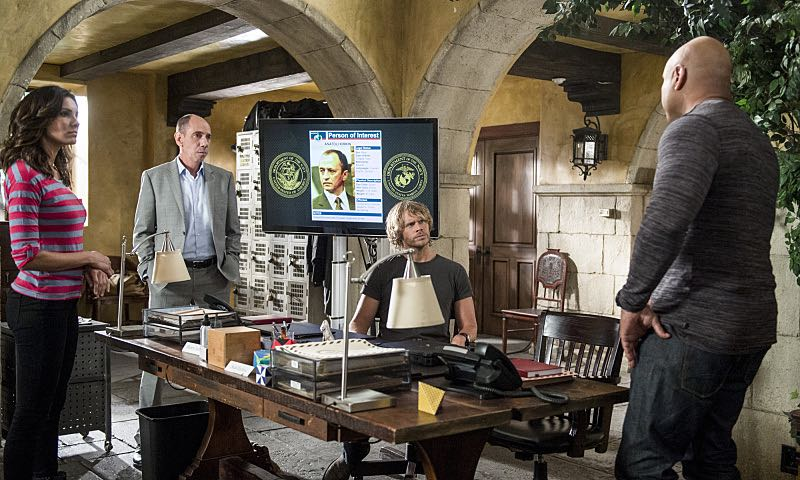 """""""Active Measures"""" -- Pictured: Daniela Ruah (Special Agent Kensi Blye), Miguel Ferrer (NCIS Assistant Director Owen Granger), Eric Christian Olsen (LAPD Liaison Marty Deeks) and LL COOL J (Special Agent Sam Hanna). The seventh season resumes with Callen embarking on a secret project, leaving Sam, and the entire team in the dark. After Hetty demands his operation be shut down, the team is tasked with locating Callen before he finds himself in over his head on the seventh season premiere of NCIS: LOS ANGELES, Monday, Sept. 21 (9:59-11:00, ET/PT), on the CBS Television Network. Photo: Neil Jacobs/CBS ©2015 CBS Broadcasting, Inc. All Rights Reserved."""