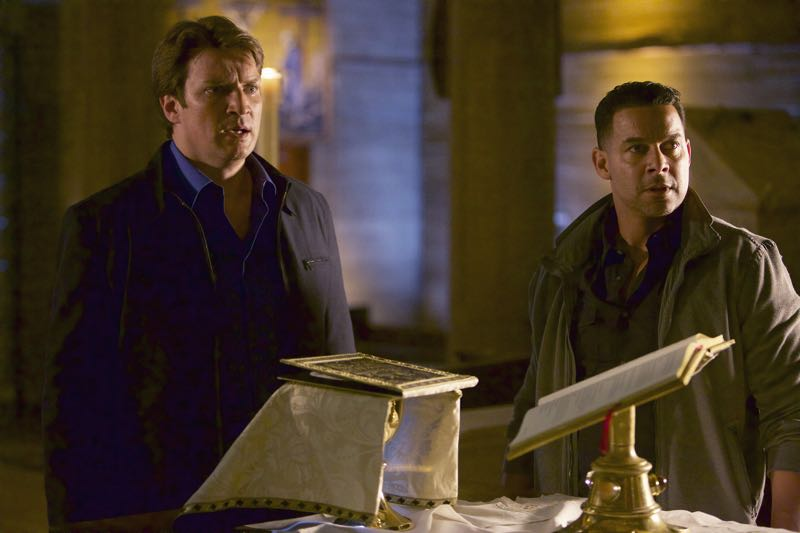 """CASTLE - """"What Lies Beneath"""" - When Castle's idol, a famously reclusive author, turns up dead, Castle is determined to solve his hero's murder. But as he and Beckett dig deeper, they discover that truth is stranger than fiction. """"What Lies Beneath"""" will air on MONDAY, OCTOBER 12 (10:01-11:00 p.m. ET/PT) on the ABC Television Network. (ABC/Greg Gayne) NATHAN FILLION, JON HUERTAS"""