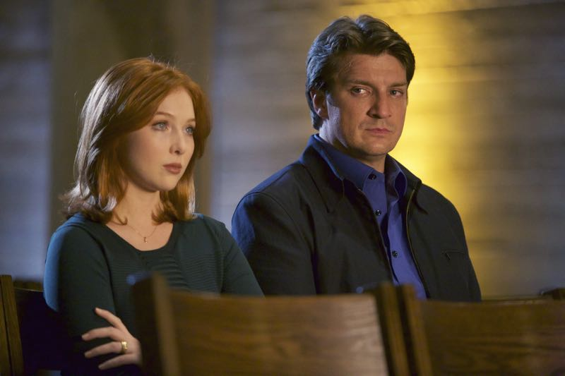 "CASTLE - ""What Lies Beneath"" - When Castle's idol, a famously reclusive author, turns up dead, Castle is determined to solve his hero's murder. But as he and Beckett dig deeper, they discover that truth is stranger than fiction. ""What Lies Beneath"" will air on MONDAY, OCTOBER 12 (10:01-11:00 p.m. ET/PT) on the ABC Television Network. (ABC/Greg Gayne) MOLLY QUINN, NATHAN FILLION"