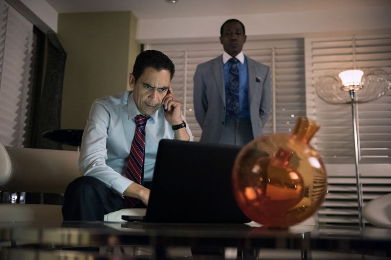 """THE PLAYER -- """"Ante Up"""" Episode 101 -- Pictured: (l-r) Jose Zuniga as Dewald, Wesley Snipes as Mr. Johnson -- (Photo by: Colleen Hayes/NBC)"""